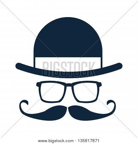 simple flat design hat glasses mustache icon vector illustration