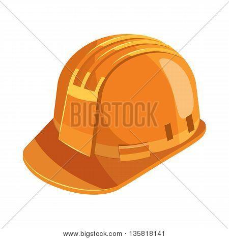Orange construction helmet icon in cartoon style on a white background