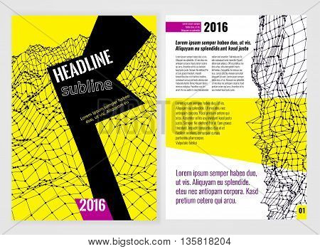 Vector business brochure template. Bright modern backgrounds for poster, print, flyer, book, booklet, brochure and leaflet design. Editable graphic image in white, black, violet and yellow colors