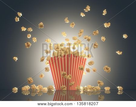 3D illustration. Popcorn exploding out of the striped package. Clipping path included.