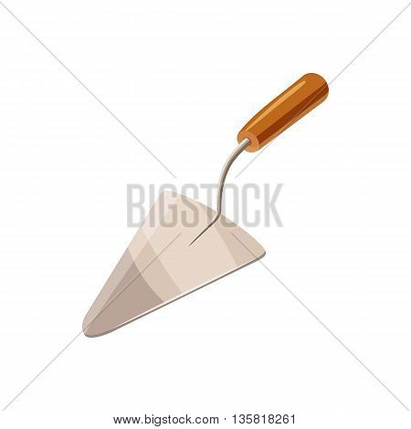 Construction trowel icon in cartoon style on a white background