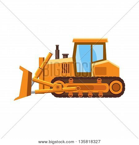 Orange bulldozer icon in cartoon style on a white background