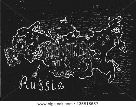 Russian hand drawn map. Editable vector illustration. Geographical concept in plain funny style on a textured blackboard background. Ink drawing concept.