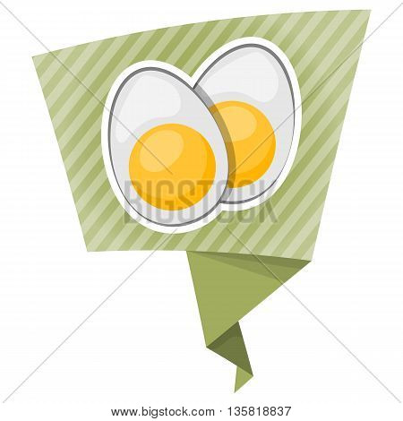 Vector Icon Sliced Boiled Eggs.