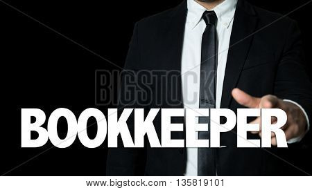 Business man pointing the text: Bookkeeper
