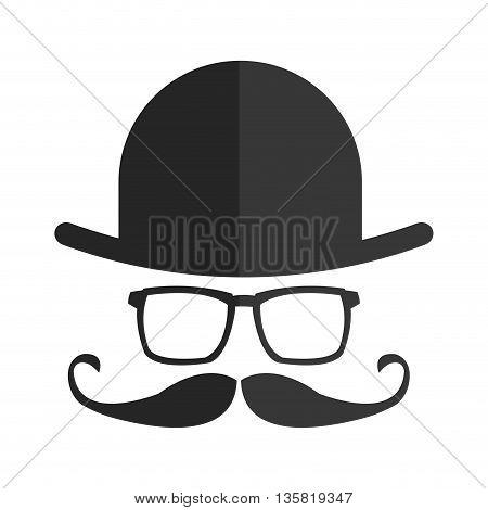 grey simple flat design hat glasses mustache icon vector illustration