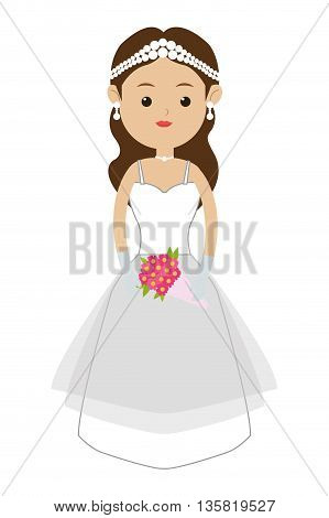 flat design of caucasian bride with tiara and bouquet icon vector illustration