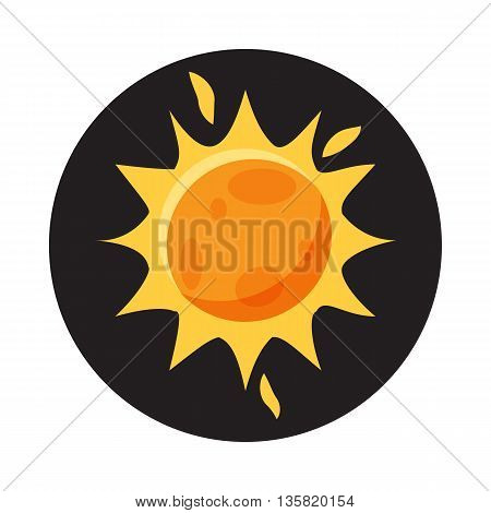 Sun in space icon in cartoon style on a white background