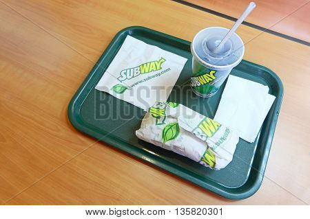 Astrakhan, Russia - circa 2015: Subway lunch with sandwich on the tray - illustrative editorial.