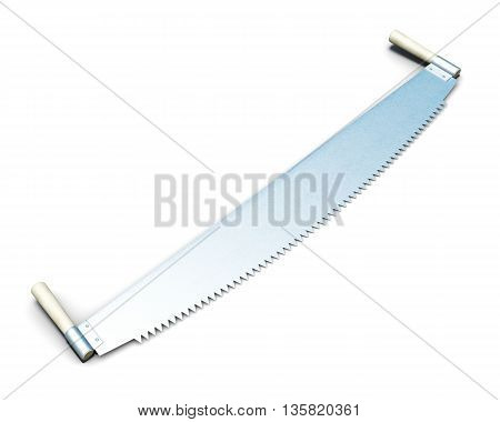 Two-man saw isolated on white background. Series garden tools. 3d rendering