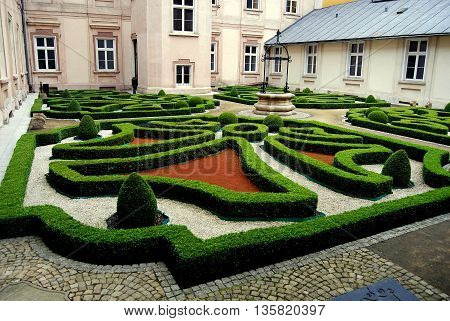 Wroclaw Poland - June 13 2010: Formal knot garden in the cloister of the Zwiedzunic Catholic girls' school