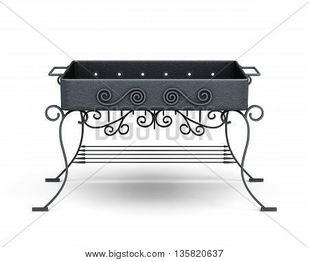 Front view barbecue grill isolated on white background. Forged elements, ornament. 3d rendering.