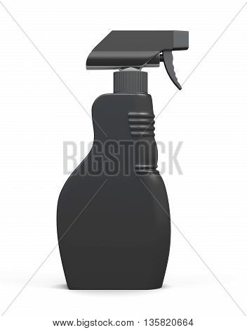 Black packaging spray bottle isolated on white background. Household chemicals. Cleaning product. Front view. For your design. 3d render image