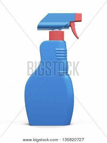 Plastic spray bottle isolated on white background. Household chemicals. Cleaning product. Front view. For your design. 3d rendering