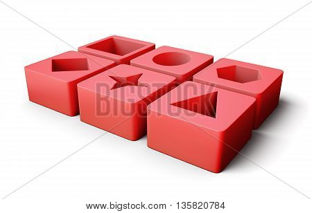 Set of educational blocks  isolated on white background. With geometric shapes. Children's educational toys. 3d rendering