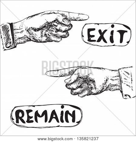 Set of the hands with pointing forefinger and text illustration in black and white