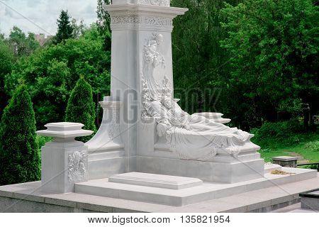 Marble monument at Baykovoe cemetry, Kiev, Ukraine