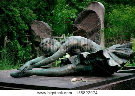 The monument at the grave of a ballerina Alla Gerasimchuk. Baykovoe cemetry, Kiev, Ukraine.