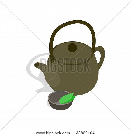 Teapot and cup of tea icon in isometric 3d style on a white background