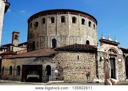 Brescia, Italy - May 30, 2006: The Rotondo (Winter Cathedral  Duomo) of Santa Maria Maggiore dating to the 11th century with its unique circular sanctuary