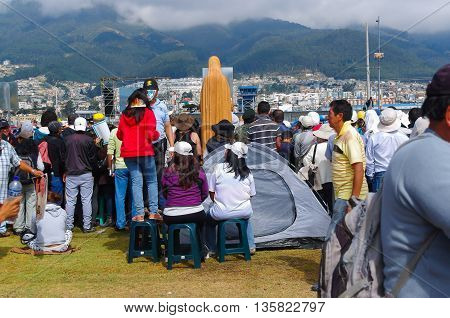 QUITO, ECUADOR - JULY 7, 2015: Some families arrived from different cities and install their tents at pope Francisco mass.
