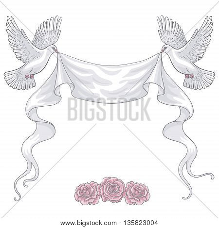 Hand drawn pair of white flying doves with banner ribbon and pink roses. Contoured image. Space for text. Two pigeons vector sketch. Holiday decoration element.