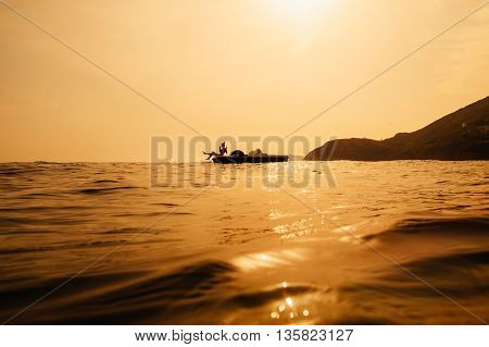 Girl On Catamaran With Sunlight
