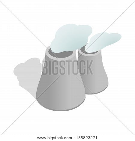 Smoking pipes of thermal power plant icon in isometric 3d style on a white background
