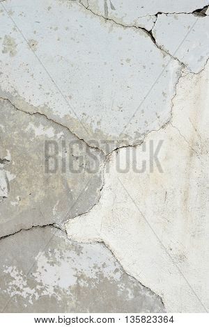 Background or texture: Expansion cracks in a concrete wall and spalling illustrating deterioration