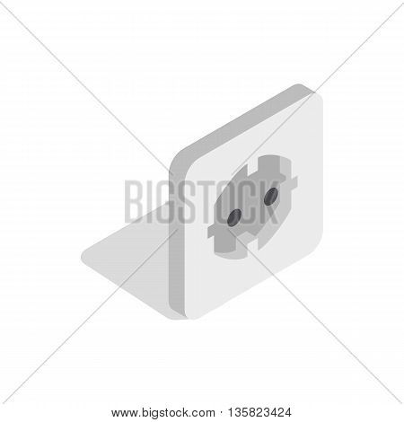 Electric white socket icon in isometric 3d style on a white background