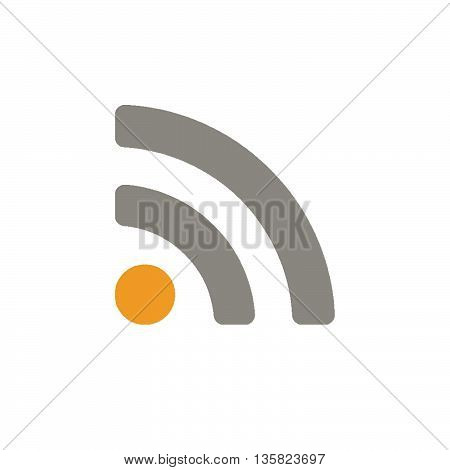 This is rss feed icon with orange and grey color.