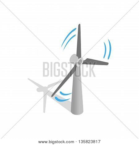Windmill for electric power production icon in isometric 3d style on a white background