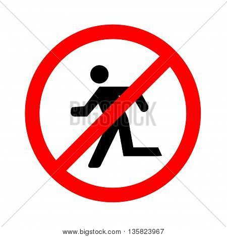 No Run Sign on white background, vector illustration