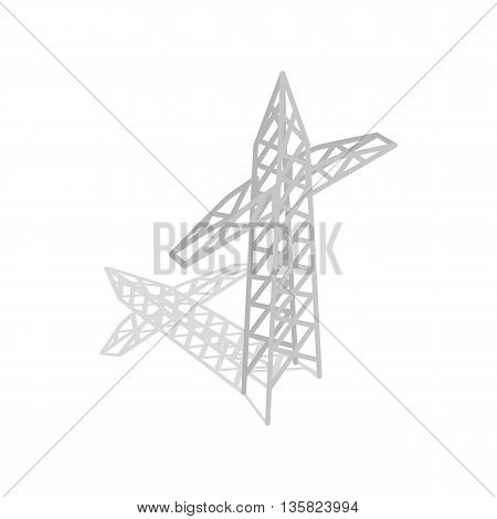Power transmission tower icon in isometric 3d style on a white background
