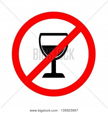 No alcohol sign on white background, vector illustration