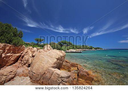 COSTA SMERALDA (Italy) - 25 June 2015: Liscia Ruja Beach Costa Smeralda Emerald coast Sardinia Italy