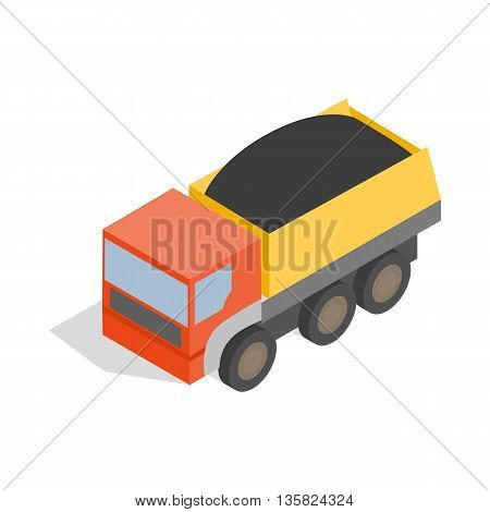 Dump truck icon in isometric 3d style on a white background