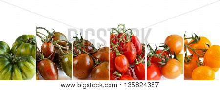 Colorful tomatoes isolated on white background collage