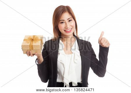 Asian Business Woman Thumbs Up With A Golden Gift Box