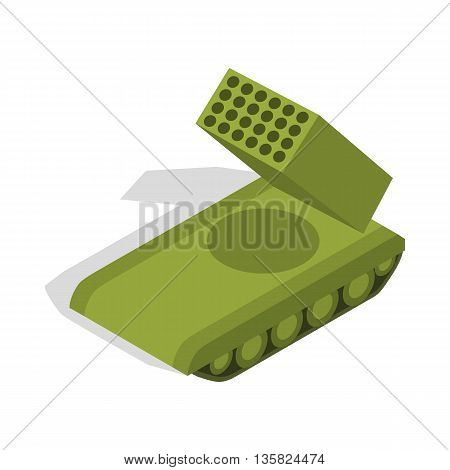 Multiple launch rocket system icon in isometric 3d style on a white background