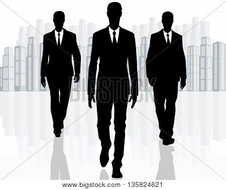 Vector illustration of a three businessman goes