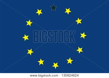 Caricature britexit. The European Union without the Great Britain. Now 1 GB free