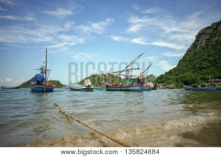 fishing boats lying and ready to go out at Prachuapkhirikhan ,Thailand