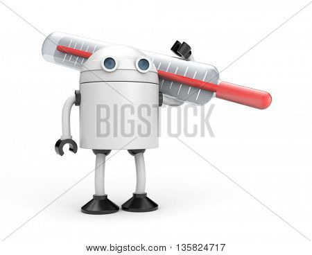 Robot with thermometer. 3d illustration