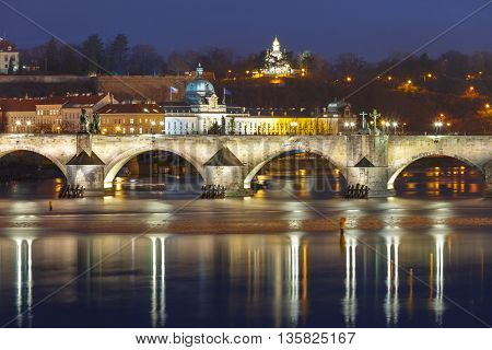 Charles Bridge at night illumination in Prague, Czech Republic