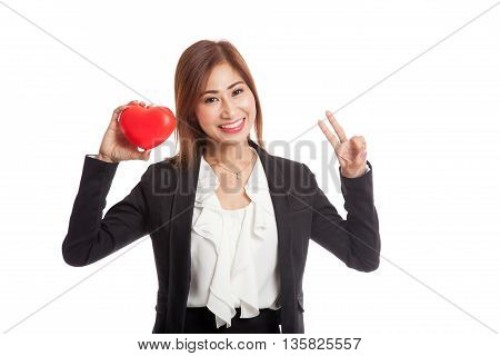 Asian Business Woman Show Victory Sign With Red Heart