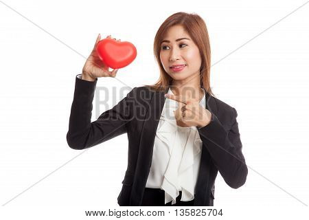 Asian Business Woman Point To Red Heart
