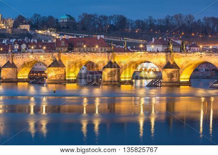 Charles Bridge during twilight blue hour in Prague, Czech Republic