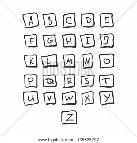 Scribble Square Font Hand Drawn Alphabet Black Isolated Vector