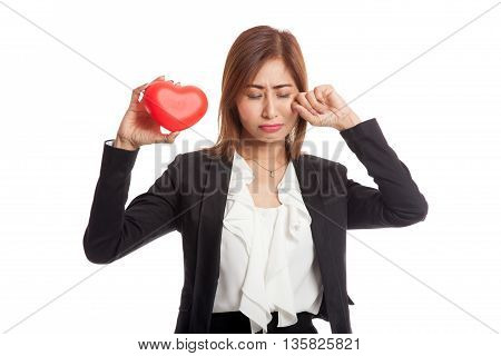 Asian Business Woman Sad And Cry With Red Heart